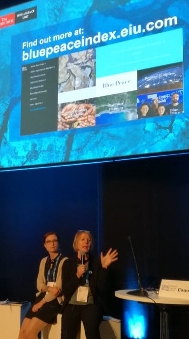 Belynda Petrie speaks the Blue Peace Launch during World Water Week 2019